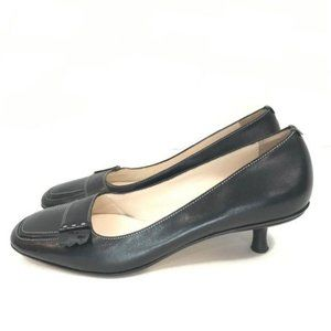 Cole Haan Black Leather Square Toe Kitten Heels